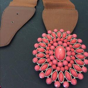 Belt s/m size light brown and pink coral